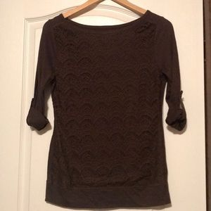 Brown, lace front shirt